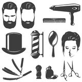 Ensemble de Barber Black White Vintage Icons Illustration Libre de Droits