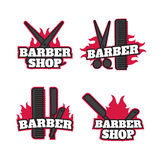 Ensemble de Barber Shop Logos Vector Templates Labels, insignes Images libres de droits