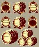 Ensemble de barils en bois de vintage dans le raccourci différent sur le fond Illustration de vecteur Images stock