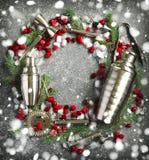 Ensemble de barre sous forme de guirlande de Noël Photo stock