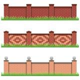 Ensemble de barrières de pierre de brique pour la ferme, le manoir ou le jardin Photos libres de droits