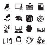 Ensemble de base d'icône d'école Photos stock