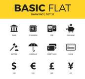 Ensemble de base d'icônes d'opérations bancaires illustration de vecteur