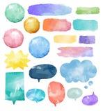 Ensemble de base de vecteur coloré de bulles de la parole d'aquarelle illustration stock