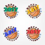 Ensemble de basket-ball et de nouvelle année Photographie stock libre de droits