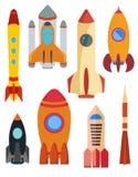 Ensemble de bateau de fusée d'espace de vecteur Fusée huit d'isolement sur le fond blanc Image libre de droits