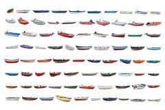 Ensemble de bateaux de pêche d'isolement sur le fond blanc Photo stock