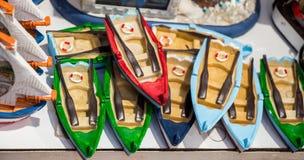 Ensemble de bateaux fabriqués à la main en vue Images stock