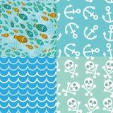 Ensemble de batskground 4 sans couture dans le style marin anchor squelette Images libres de droits