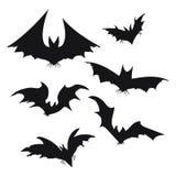 Ensemble de battes pour Halloween Collection de battes noires Silhouettes des monstres de vol Les sangsues Clipart (images graphi Photographie stock