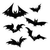 Ensemble de battes pour Halloween Collection de battes noires Silhouettes des monstres de vol Les sangsues Clipart (images graphi Photos libres de droits