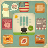 Ensemble de BBQ de menu de barbecue Images stock