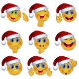 Ensemble de beau Smiley Faces avec différentes expressions émotives Conception saisonnière d'hiver illustration du vecteur 3d Photos stock