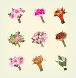 Ensemble de beaucoup de bouquets des fleurs illustration stock