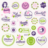 Ensemble de beauté, cosmétiques et signes naturels et éléments de soins de santé illustration libre de droits
