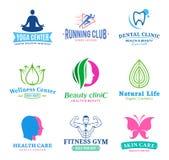 Ensemble de beauté de vecteur et logo de santé, icônes et éléments de conception Image stock