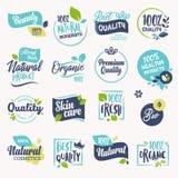 Ensemble de beauté et cosmétiques, station thermale et labels et insignes de bien-être illustration stock