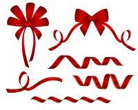 Ensemble de beaux arcs décoratifs de rouge Photos stock