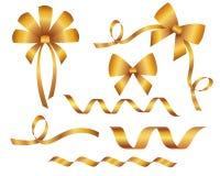 Ensemble de beaux arcs d'or décoratifs Photo stock