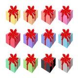 Ensemble de beaux boîte-cadeau avec le ruban rouge Images libres de droits