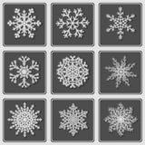 Ensemble de beaux flocons de neige de papier Photos libres de droits