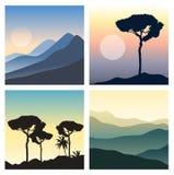 Ensemble de beaux paysages Vues panoramiques avec le soleil, le ciel coloré, les montagnes et les silhouettes d'arbres Photos libres de droits