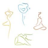 Ensemble de belle femme de silhouettes yoga Image libre de droits