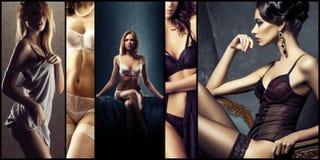 Ensemble de belles filles sexy et jeunes dans la lingerie érotique Glamou Image libre de droits