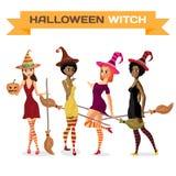 Ensemble de belles sorcières de filles dans la robe, le chapeau et les bas illustration de vecteur