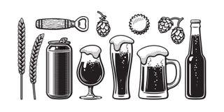 Ensemble de bière de vintage L'orge, blé, peut, verre, tasse, bouteille, ouvreur, houblon, capsule Illustration de vecteur Brasse illustration stock