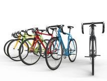 Ensemble de bicyclettes colorées de course de sports illustration libre de droits