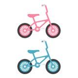 Ensemble de bicyclettes d'enfants d'isolement sur un fond blanc Illustration de vecteur Photo libre de droits