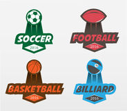 Ensemble de billards de basket-ball du football du football Images libres de droits