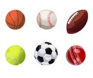 Ensemble de billes de sport Illustration tirée par la main de vecteur Basket-ball, base-ball, boule de rugby, balle de tennis, ba Photos libres de droits