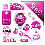 Ensemble de billets et d'étiquettes roses de vente Image stock