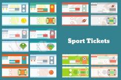 Ensemble de billets de sport : base-ball, basket-ball, le football, le football, tennis dans 2 variantes chacun Illustration de Vecteur