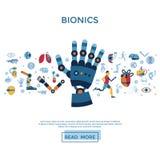 Ensemble de bionique et d'icône d'intelligence artificielle illustration stock