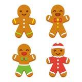 Ensemble de biscuit de bonhomme en pain d'épice illustration stock