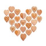 Ensemble de biscuits de coeurs, pain d'épice avec le lustre Images libres de droits