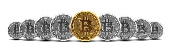 Ensemble de bitcoins d'or et d'argent illustration de vecteur