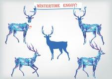 Ensemble de bleu de Noël pour la conception Cerfs communs de mosaïque, bannière Illustration Stock