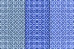 Ensemble de bleu de modèles sans couture géométriques Photos stock