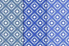Ensemble de bleu de modèles sans couture géométriques Photographie stock libre de droits