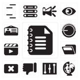 Ensemble de bloc-notes, mondial, contrôles, aversion, fin, dossier, Vid illustration de vecteur