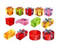 Ensemble de boîte-cadeau colorés avec l'illustration d'arc Vecteur de cadre de cadeau Photographie stock libre de droits
