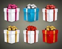 Ensemble de boîte-cadeau 3d réalistes Photographie stock libre de droits