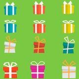 Ensemble de boîte-cadeau plats colorés Vecteur Images libres de droits