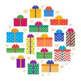 Ensemble de boîte-cadeau Présents colorés de collection Vecteur Photo stock