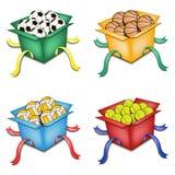 Ensemble de boîtes avec des boules Photo stock