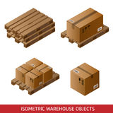 Ensemble de boîtes et de palettes en carton isométriques d'isolement sur le blanc Images stock